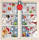 CMTOP Pegatinas de Ventana de Navidad Santa Claus Alce Desmontable Pegatinas para Hogar Tienda...