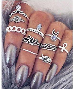 Yuhemii - Elegante e vistoso anello con strass luccicanti 10pcs a