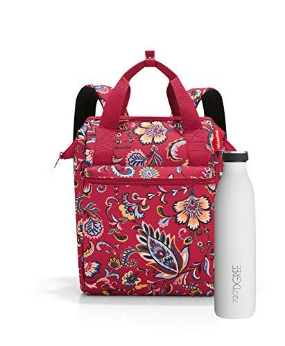 Outdoorset bestehend aus reisenthel Allrounder Rucksack und Thermoflasche/Trinkflasche 720°DGREE (Paisley Ruby)
