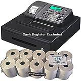EPOSBITS® Rollos de marca para caja registradora Casio SE-S100 SES100 SES SE S100 100 plateada, 10 rollos