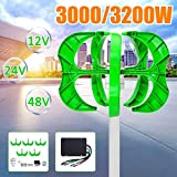 Raenhero 3200W / 3000W Wind Turbine 12/24 / 48V 5 Blade Vertical Wind Turbine Lantern Generator Shaft for Home Street Light + Controller,3200w,24V