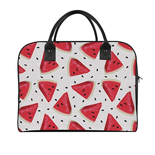 Yeuss Boys Travel Bags Briefcase Melon Pieces Of Realistic Drawn Watermelon Fruit And Seeds Women And Girls Handbag