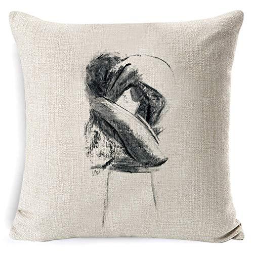 Funda Cojine Funda de cojín con Pintura de bocetos, Funda de cojín Decorativa artística para Mujer en Blanco y Negro, Funda de Almohada para galería, Funda de Almohada para sofá Decorativa casera