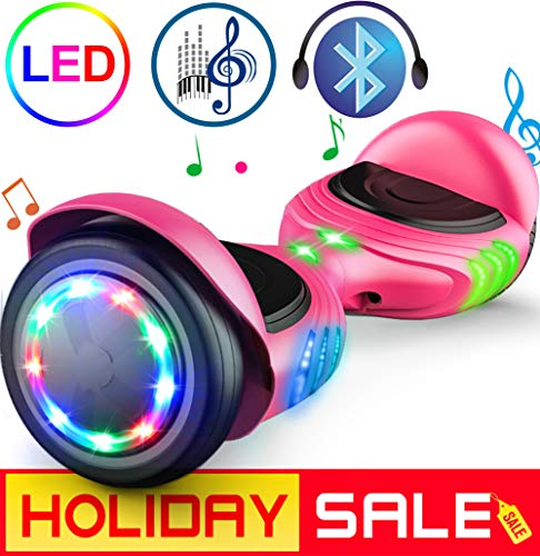 "TOMOLOO Hoverboard UL2272 Certified Self-Balancing Scooter 6.5"" Wheel Hoverboards with RGB Colorful Lights Bluetooth Speaker (Pink)"