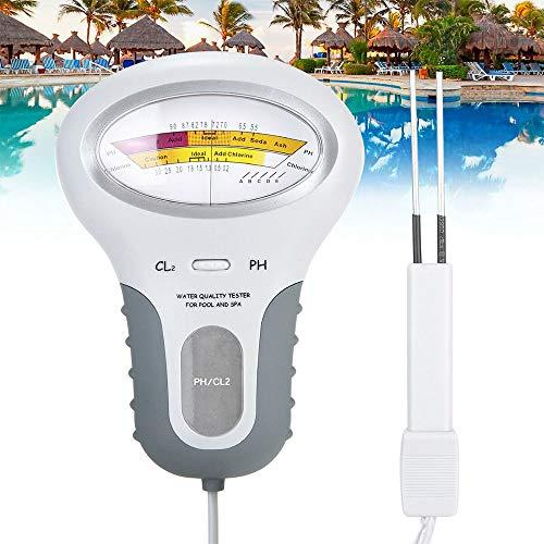 Wasserqualität Tester PH Messgerät, Tragbares Wasserqualitätsprüfgerät pH-Prüfgerät Chlor-Messgerät für Trinkwasser Schwimmbad Aquarium Pools