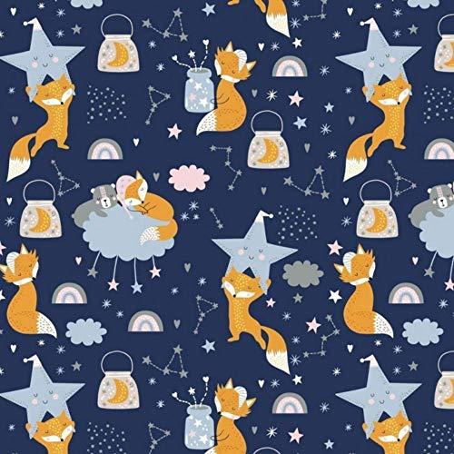 Pingianer 11,99€/m 100x160cm Fuchs 100% Baumwolle Baumwollstoff Kinder Meterware Handwerken Nähen Stoff (Fuchs Nacht Dunkelblau, 100x160cm (11,99€/m))