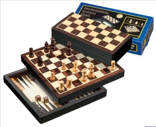 Philos 2507 - Set da Viaggio Scacchi/Dama/Backgammon, re Alto 42 mm, caselle da 22 mm, Magnetico
