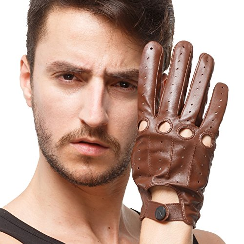 Nappaglo Men's Driving Leather Gloves Italian Lambskin Full-finger Motorcycle Cycling Riding Unlined Gloves (Touchscreen or Non-Touchscreen) (M (Palm Girth:8'-8.5'), Brown (Touchscreen))