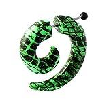 4MM Schwarze Schlangenhaut auf grüne UV Spirale 16 Gauge 316L chirurgischer Stahl gefälschte Gauge Ohrstecker Piercing