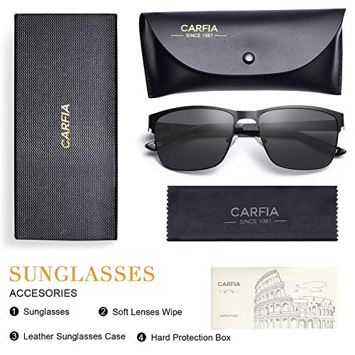 Carfia Polarized Sunglasses Man Metal Square Frame 100%UV400 Protection for Driving, One Size, Black Frame With Grey Lens
