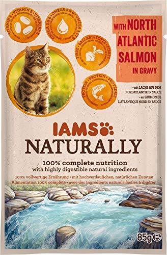 IAMS Naturally Pochon Saumon d'Atlantique en Sauce pour Chat 85g,
