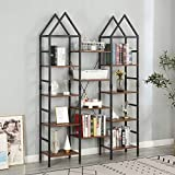 MELLCOM Triple Wide 5 Tier Industrial Bookshelf, 14 Open Storage Cubes, Vintage Wood Bookcase with Wood and Metal Frames, Display Racks and Storage Shelf for Living Room, Office