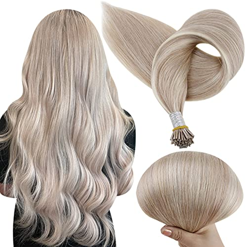 Full Shine Blonde Highlighted I Tip Strand By Strand Hair Extensions 22 Inch Fusion Tip 1g Per Strand 50g/Package Color...