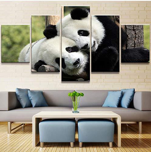 wmyzfs Lienzo HD Impresiones Imágenes Arte de la Pared 5 Piezas Animal Panda Pintura Decoración del hogar Cartel Modular para Sala de Estar sin Marco