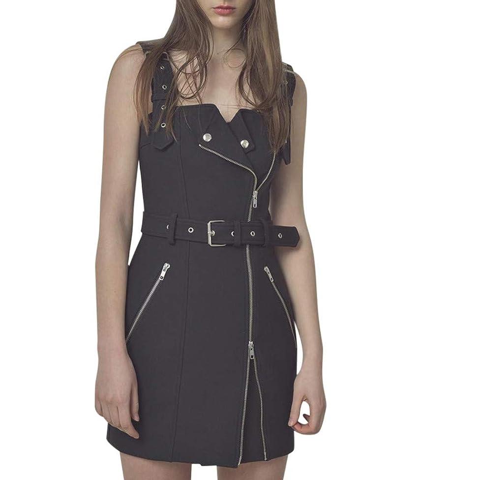 2019 JJLIKER Womens Sexy Sleeveless Irregular Dress Skinny Zipper Minidress Black Mini Club Party Dress with Belt