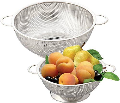 Cook N Home 2-Piece Micro-Perforated Stainless Steel Colander Set, 3 and 5 Quart