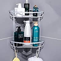 WCD シャワーキャディドリル無料バスルームコーナーシェルフ、アルミウォールマウントステッカー、バスルームラックウォールマウント、トライアングル、3層(カラー:トライアングル、サイズ:3フロア)
