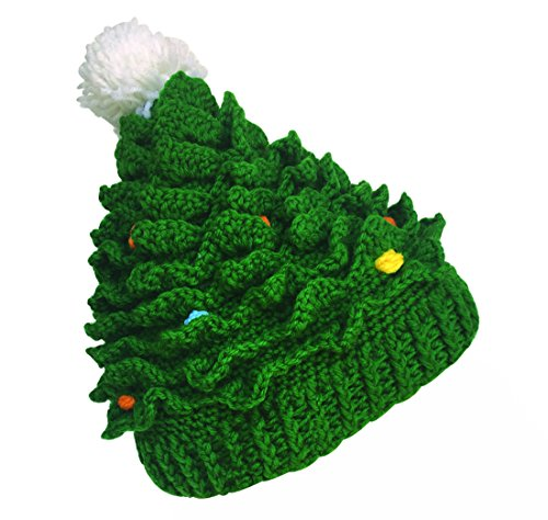Kafeimali Unisex Christmas Winter Knitted Crochet Beanie Santa Hat with Beard Foldaway Bearded Caps (Green)