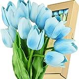 FiveSeasonStuff Tulips Artificial Flowers | Real Touch | Wedding Bouquet Home Décor Party | Floral Arrangements | 15 Stems (Arctic Blue)