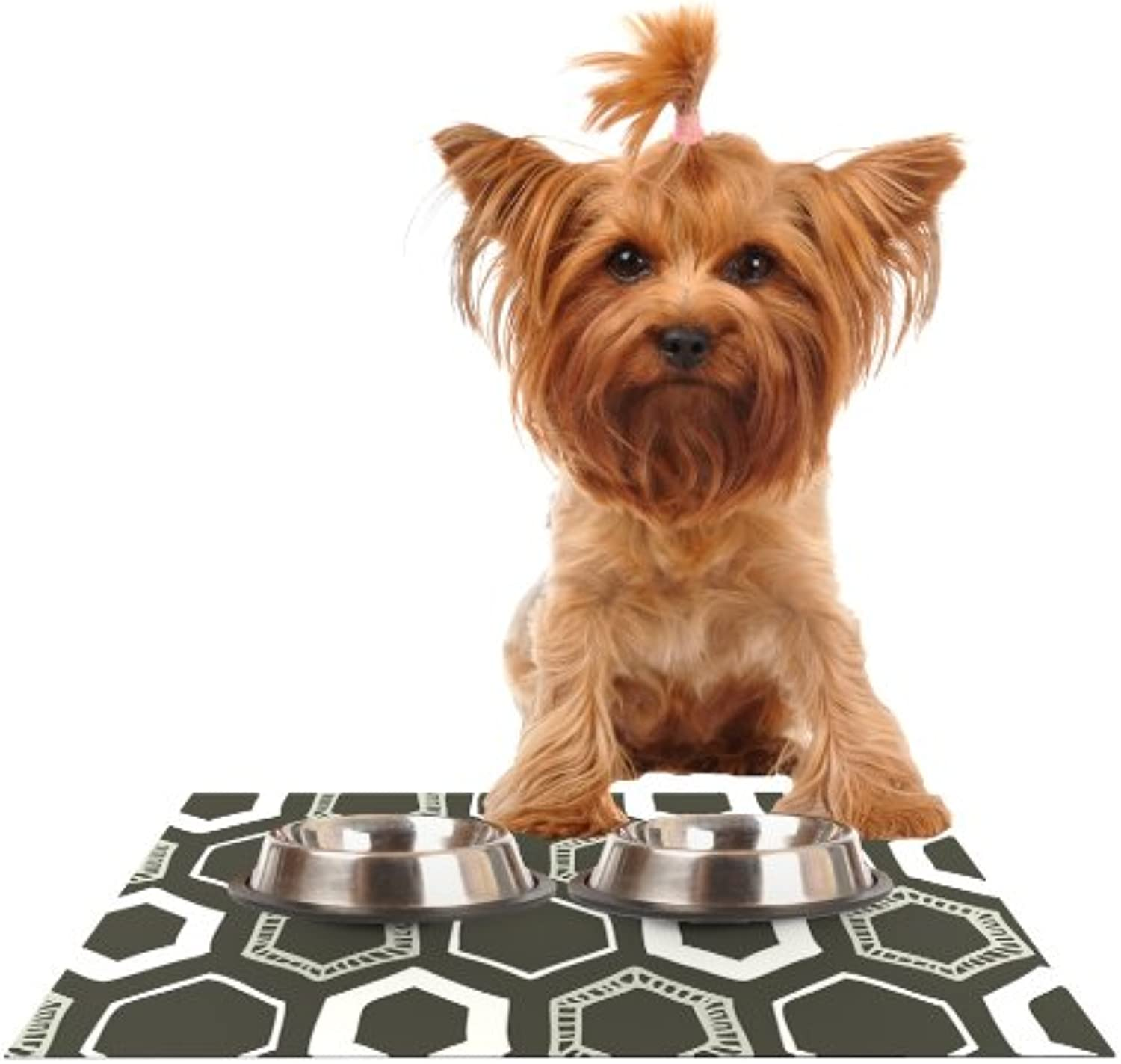 KESS InHouse Laurie Baars Hexy Brown Geometric Feeding Mat for Pet Bowl, 18 by 13Inch