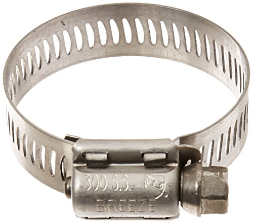 Breeze 63020H Marine Grade Power-Seal Stainless Steel Hose Clamp, Worm-Drive, SAE Size, 13/16' to 1-3/4' Diameter Range, 1/2' Band Width (Pack of 10)