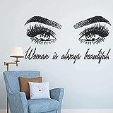 Pegatinas de pared artísticas y Mural de pestañas para pared, cejas para niñas, extensión de pestañas, maquillaje, adhesivo para pared 130x71cm