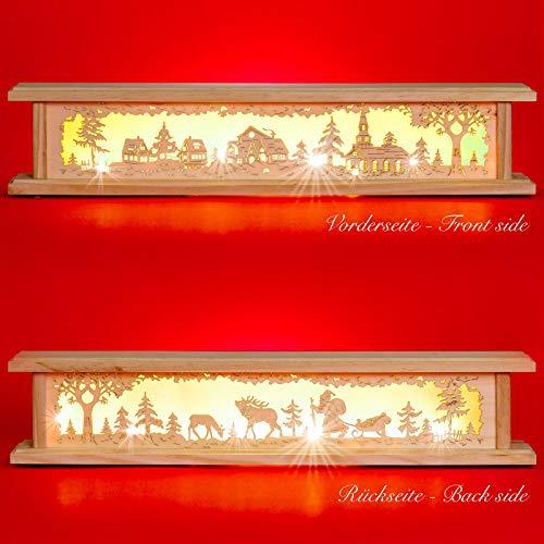 SIKORA B22 beleuchtete LED Holz Schwibbogen Erhöhung inklusive Trafo 2 Motive 2 Längen, Farbe/Modell:Länge 57 cm (B21)