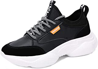 AUCDK Women Fashion Sneakers PU Upper Lace Up Fashion Chunky Sports Shoes with Non Slip Sole for Travel and Jogging