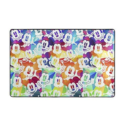 Alfombra antideslizante grande de Mickey Mouse con dibujos animados para sala de estar, alfombra de piso de 156 x 95 cm
