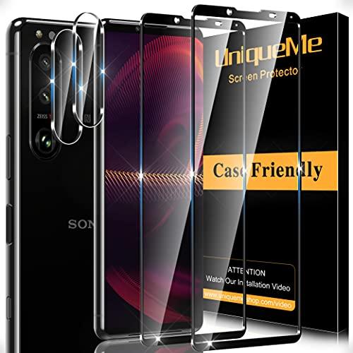 UnqiueMe [2+2 Stück] Schutzfolie für Sony Xperia 5 III 2 Stück Panzerglas & 2 Stück Kamera Schutzglas, [Anti- Kratzer][9H Festigkeit] Folie HD Klar Gehärtetes Glas Bildschirmschutz