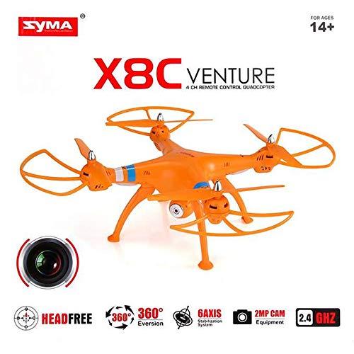 MODELTRONIC Dron Grande SYMA X8C Venture Naranja con cámara 2MP HD Completo con emisora, bateria y Cargador.