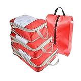Borsa per il deposito bagagli Travel Suitcase Organizer 4 pezzi Set Space Save Storage Bags Per bagagli Air Home Storage rendere i cubetti di imballaggio più leggeri ( Color : Red , Size : Free size )
