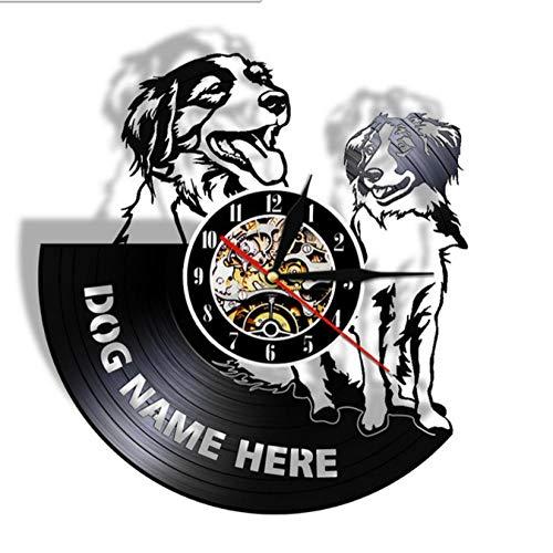 mazhant Wanduhr Benutzerdefinierte Hundename Vinyl Schallplattenuhr Hunderasse Personalisierte kleine Hund Kiker Uhr