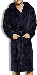 Homme Robe d'hiver Long Peignoir mâle Polaire Robe