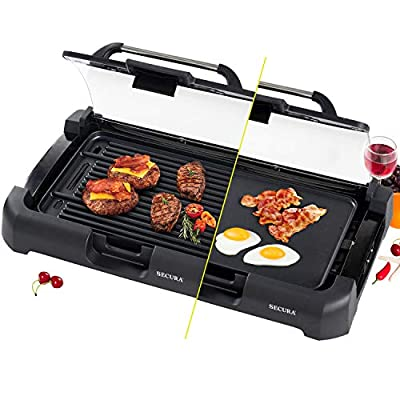 Secura GR-1503XL 1700W Electric Reversible 2 in 1 Grill Griddle w/ Glass Lid