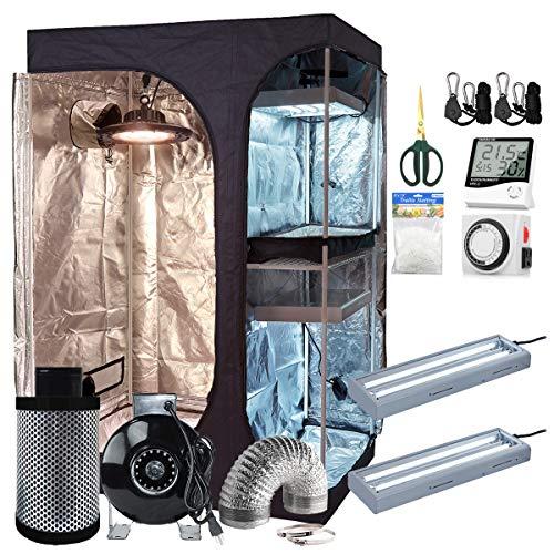 BloomGrow 36''x24''x53'' 2-in-1 Mylar Grow Tent + 4'' Fan Filter Ventilation Kit + 300W UFO LED Full Spectrum Grow Light + 2PCS 24W 2ft 2-lamp 6500K T5 Lights + Hygrometer Accessories Complete Kit