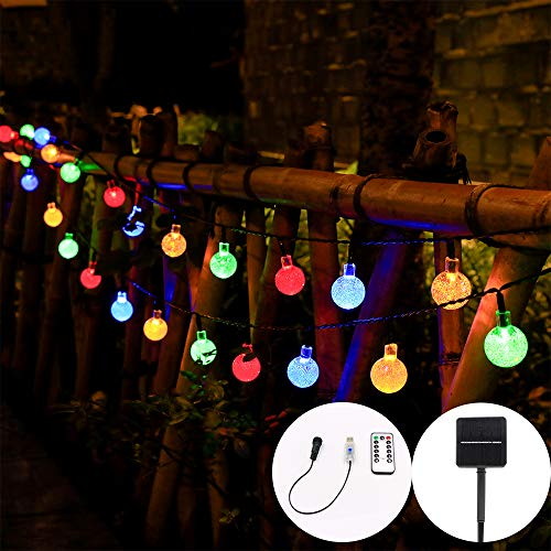 Upgraded Solar USB Remote Control 36ft60LED Oversized Crystal Ball Solar String Light. The Rope lamp is Suitable for Outdoor or Indoor, Wedding, Party, Garden Decora
