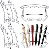 Teling 4 Pieces Plastic Pen Holder Stand, 6-Slot 2 Kinds Vertical and Horizontal Pen Display Stand Rack Eyebrow Pen Stand Makeup Brush Rack Organizer for School Office Home Store (Clear)