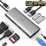 【Hub USB C 11 in 1 - Multiporta】 Espansione immediata: 11-in-1 Hub type C con output video HDMI 4K, 1080p VGA port, RJ45 Gigabit Ethernet port, 3 porte USB 3.0 e 1 porta USB 2.0, 3.5 mm audio interface,ricarica tipo PD 100W, lettore di schede SD/TF. ...