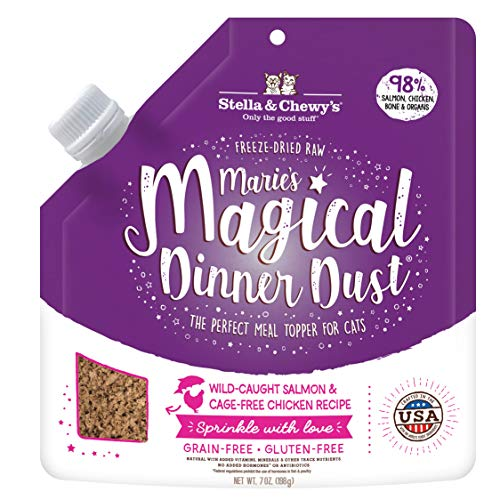 Stella amp Chewy#039s Marie Magical Dinner Dust Wild Caught Salmon and Cage Free Chicken Cat Food Topper 7 oz Bag MMDDCATSCH7