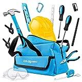 Hi-Spec Kinderwerkzeugtasche in Blau Orange mit zahlreichen echten Werkzeugen zum