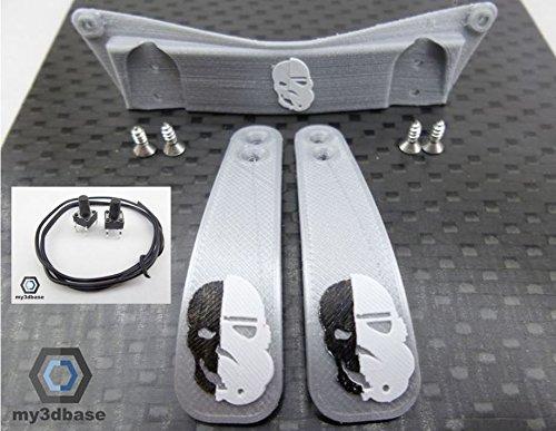Set: Playstation PS4 - Paddle Mod Kit DIY, Paddles, Taster, Halterung etc (Storm Trooper Silver)