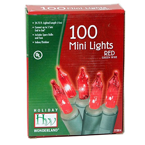 Holiday Wonderland 4003-88 Mini Light Set, Red, 100-count