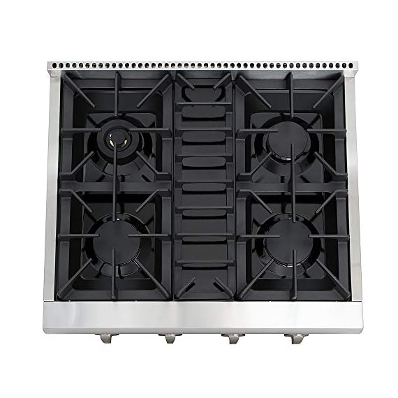 Thor Kitchen Pro-Style Gas Rangetop with 6 Sealed Burners 36 - Inch, Stainless Steel HRT3618U 5 Cooktop:3 single burner x 18,000BTU,3 dual burner x 15,000BTU, 18,000BTU stainless steel griddle Black Porcelain Drip Pan easy cleaning 3 x Heavy Duty Flat Cast-iron Cooking Grates