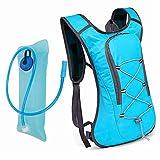 Song6 Strandzelt Wasserblase Trinkrucksack Schulterrucksack Leichter Daypack 2L für Outdoor-Ausrüstung Skifahren Laufen Wandern Radfahren Camping Zelt (Color : Blue+Blue 2L Water Bladder)