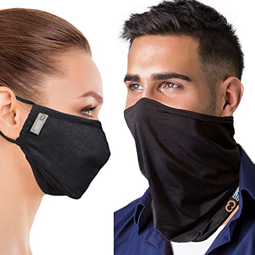 Copper Compression Face Covering Bundle including 2 Copper-infused 4-layer Face Masks and 1 Copper Compression Copper-Infused Neck Gaiter
