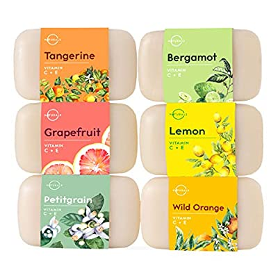 O Naturals 6 Pc Citrus Bar Soap Collection. Vegan Body & Hand Soap. Organic ingredients. Acne Face Cleanser Vitamin C Soap, Vitamin E Moisturizing Natural Soap Triple Milled Gift Set Women & Men 4oz
