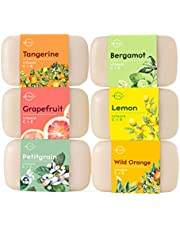 Top 6 Vitamin Citrus Bar Soap Collection. Vegan Body Soap. Organic Ingredients. Acne Face Cleanser Vitamin C Soap, Vitamin E Moisturizing Natural Soap Triple Milled Gift Set Women & Men 113gr Each