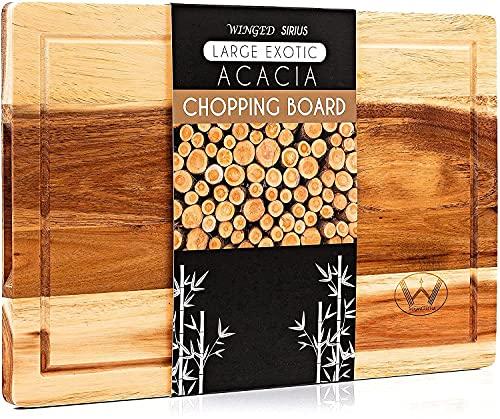 Winged Sirius Tabla de cortar de madera con ranura para jugos, tabla de cortar de acacia orgánica,...