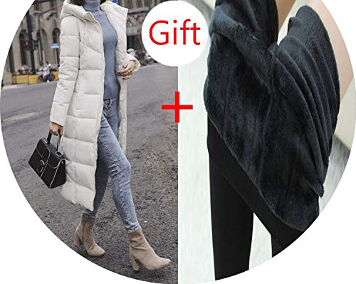 Winter Jacket Parka Coat Pockets Long Down Jacket Solid Long Hooded Down Coat Jacket Women,White,L